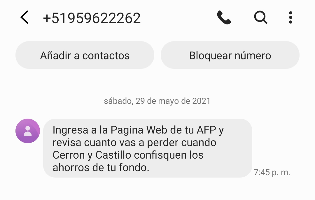 (Foto: Captura de pantalla SMS)