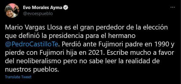 Evo Morales comenta sobre Mario Vargas Llosa